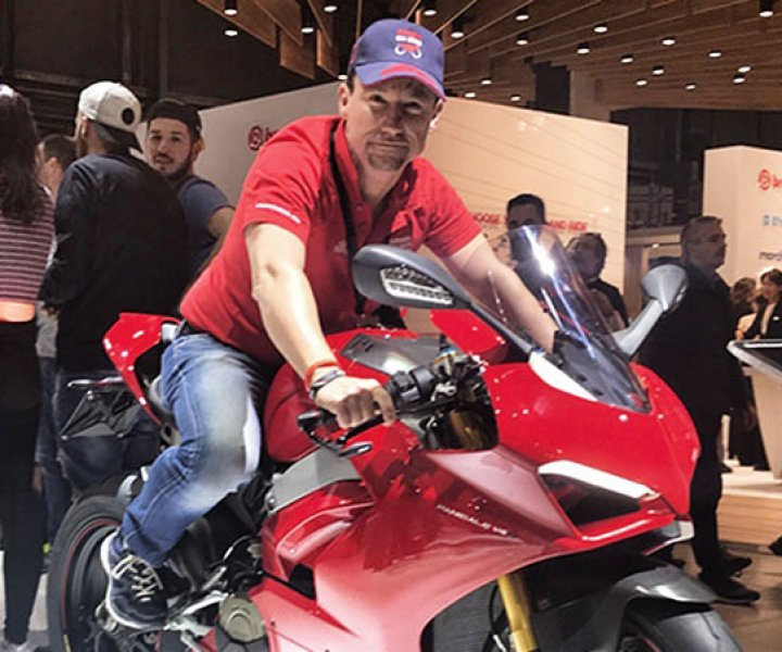 ARMIN ON BIKE at EICMA on Ducati Panigale V4 S