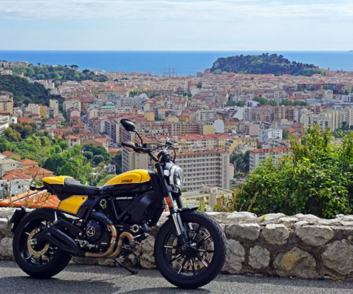 Ducati Scrambler at Grande Corniche Nice | Photo: Armin Hoyer - arminonbike.com