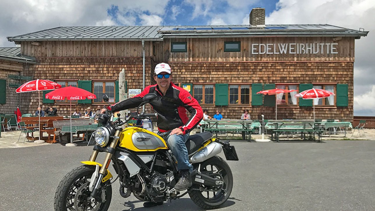 ARMIN ON BIKE on Scrambler Ducati at Edelweißhütte | Photo: arminonbike.com